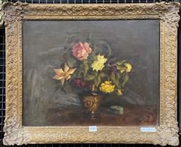 Sale 9111 - Lot 2003 - Artist Unknown (C20th) Still Life Flowers and Pill Box oil on canvas, signed