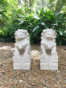 Sale 9175G - Lot 54 - Two Carved Stone Foo Dog Statue . General Wear.Marks,some staining ect. Size : 38cm H X15cm L x20cm W