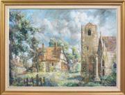 Sale 8342A - Lot 317 - Guilio Bagnoli (1927 - 1978) - European Church Grounds, 1971 80 x 110cm