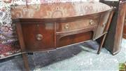 Sale 8375 - Lot 1021 - Georgian Style Mahogany & String Inlay Elevated Bow-Front Sideboard (Key in Office)