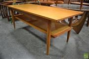 Sale 8409 - Lot 1019A - Teak Coffee Table with Rattan Shelf