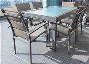 Sale 8593A - Lot 95 - A seven piece outdoor setting by Furniture Solutions (Please see sale comments for collection details)
