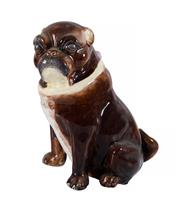 Sale 8586A - Lot 25 - An antique majolica pug dog statue, H 25cm
