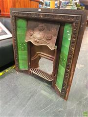 Sale 8648 - Lot 1004 - Cast Iron Fireplace with Green Tiles