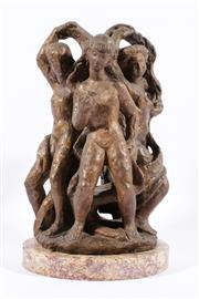 Sale 9013 - Lot 524 - Arthur Fleischmann (1896 - 1990) - Three Goddesses h: 39 cm dia: 21 cm
