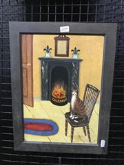 Sale 9024 - Lot 2009 - H McCuloch, Cat by the Fire, oil on board, 41 x 31cm (frame), signed lower right