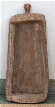 Sale 9066H - Lot 64 - A large rustic French single handled oak serving tray. 82cm x 38cm x 9cm.