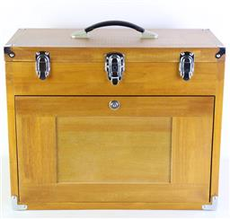 Sale 9107 - Lot 14 - A Timber Travellers Lockable Jewellery Case with Multi- Fitted Drawers (H:41cm x W:51cm x D:27cm)