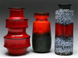 Sale 9148 - Lot 47 - A set of three West German vases (H: tallest 28cm)