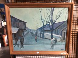 Sale 9152 - Lot 2042 - Artist Unknown (Mertz) Ghetto Scene c60-70s oil on canvas, 57 x 67cm (frame) signed -