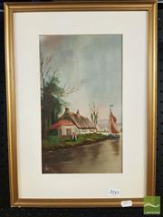 Sale 8474 - Lot 2048 - Artist Unknown - Thatched Roof Cottage Along the River, 1915 31 x 18.5cm