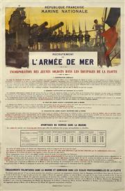 Sale 8696A - Lot 5056 - H. Gervaise - Republique Francais Marine Nationale: Recrutement de lArmee De Mer 99.5 x 65cm
