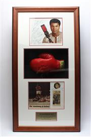 Sale 8733 - Lot 20 - A framed collage 120 x 66  x 23 cm containing three original signed items. Includes a double-sided pages 28.5 x 36, inscribed by Ali...