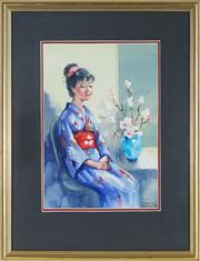 Sale 9087 - Lot 2093 - Molly Garland (1920 - ) - Japanese Girl & Blossom Flowers 33.5 x 23.5 cm (frame: 54 x 42 x 2 cm)