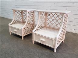 Sale 9129 - Lot 1032 - Pair of painted cane bedsides (h:56 x w:46 x d:28cm)