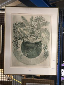 Sale 9139 - Lot 2078 - Griffith P., Boston Fern , Aquatint, numbered 12/30, signed lower right, 45cm x 64cm, framed but missing glass