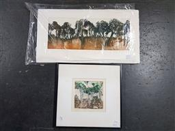 Sale 9155 - Lot 2064 - Robyn Collier (2 works)  After Glow & Treescape, etchings (1 unframed), each signed -