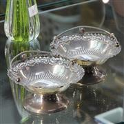 Sale 8362 - Lot 20 - English Hallmarked Sterling Silver Swing Handled Pair of Baskets (weight - 160g)