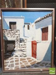 Sale 8413T - Lot 2035 - Framed Artwork of Whitewashed Houses, signed V. Nelavitsky