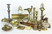 Sale 8461 - Lot 45 - Brass Candlesticks with Other Metal Wares incl. Desk Paraphernalia