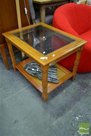 Sale 8480 - Lot 1135 - Tiered Timber Side Table with Glass Top