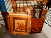 Sale 8671 - Lot 2095 - Group of Assorted Artworks, including marquetry, decorative prints, engravings and watercolours, framed and various sizes -