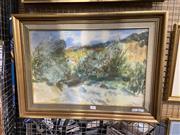 Sale 8936 - Lot 2096 - Elekfy Jeno (1895 - 1968) Jungle Hut watercolour, 47 x 64 cm, signed lower right -