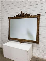 Sale 9085 - Lot 1049 - Ornate Rectangular Gilt Mirror, with pierced crest & articulated corners (h:125 x w:115cm)