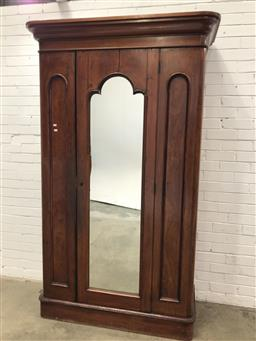 Sale 9097 - Lot 1038 - Late 19th Century  Cedar Wardrobe, with central mirror panel door, flanked by smaller blind panels (one hinged), enclosing slides, d...