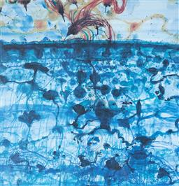 Sale 9112A - Lot 5043 - John Olsen (1928 - ) - Sunbird & Lily Pond, 1997 64 x 61.5 cm (frame: 95 x 86 x 3 cm)