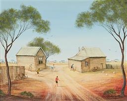 Sale 9133 - Lot 580 - Kym Hart (1965 - ) Back Yard Cricket oil on canvas board 39.5 x 49.5 cm (frame: 56 x 66 x 3 cm) signed lower right