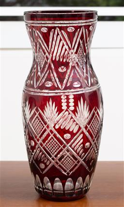 Sale 9140H - Lot 80 - A ruby red cut glass vase, Height 35.5cm