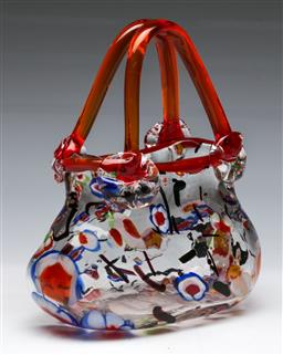 Sale 9148 - Lot 41 - An art glass basket form bowl (H 20cm W 18cm)