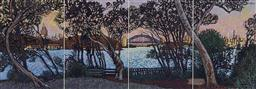 Sale 9174JM - Lot 5078 - NICK HOLLO View from Yurlbin point, Birchgrove, 2009 pastel on paper 42 x 120 cm (frame: 65 x 142 x 3 cm) signed and dated lower right