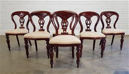 Sale 9191 - Lot 1010 - Set of 6 mahogany spoon back dining chairs (h:90 x w:50 x d:41cm)
