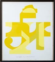 Sale 8800 - Lot 28 - M Harvey - Yellow Totem 61 x 47cm