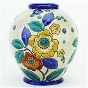 Sale 8387 - Lot 11 - Boch Freres Keramis Floral Vase