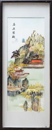 Sale 8593A - Lot 98 - A set of four Chinese three dimensional panels of lake scenes, in box frames, frame size each 80 x 32cm
