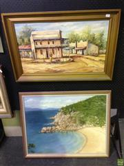Sale 8622 - Lot 2046 - 2 Works: Lawson- Arthur Bay, Oil on Board SLR with Artist Unknown - Town, Oil on Board, SLL