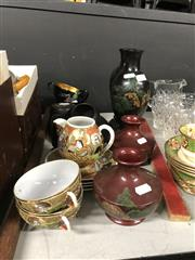 Sale 8819 - Lot 2531 - Chinese Black Lacquered Pair of Vases Together with Others Inc. Cups and Saucers, Moroon Vases, and Satsuma Wares