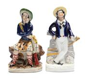 Sale 8887 - Lot 85 - A Staffordshire figure of a Scottish hunter in costume and a sailor, Britains Glory