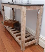 Sale 8891H - Lot 3 - A granite top rustic console table with lower shelf. Height 79cm x Width 126cm x Depth 39cm