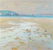 Sale 8938 - Lot 515 - John Maudson (1918- ) - Wadding Ibis, Low Tide, Pittwater 63.5 x 68.5 cm