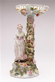 Sale 9070 - Lot 26 - Sitzendorf porcelain figural comport (H38cm), chip/crackline to top
