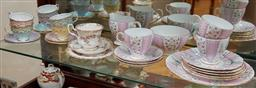 Sale 9098H - Lot 33 - A shelf lot of porcelain including Grafton Bone China pink part teaset comprising one serving plate, five side plates, three saucers...