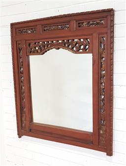 Sale 9191 - Lot 1059 - Large carved timber framed mirror (109x97cm)