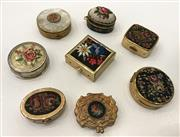 Sale 8436A - Lot 16 - A group of eight petit point covered pill boxes including cloisonné.