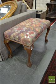 Sale 8480 - Lot 1172 - Carved French Style Ottoman with Tapestry Top on Ball & Claw Feet