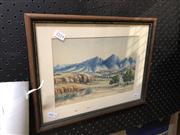Sale 8833 - Lot 2038 - Gabriella Wallace - Central Australian Landscape watercolour, 18 x 25.5cm, signed lower right