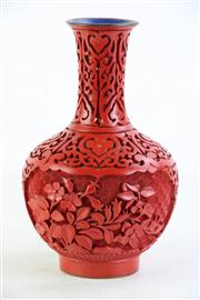 Sale 8852 - Lot 23 - A Cinnabar Chinese Vase on Stand (H24cm)